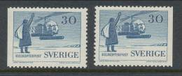 Sweden 1958 Facit # 488. Sea And Helicopter Mail,  B + B  Set Of 2, 3-side Perforation, See Scann, MNH (**) - Nuovi