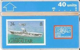 Nº 17 TARJETA DE GIBRALTAR DE UN SELLO DE UN BARCO NUEVO-MINT (STAMP-SHIP) - Gibraltar