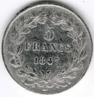 5 Francs Argent , Louis-Philippe Ier 1847 K (second Type), Le I Est Plus éloigné - J. 5 Franchi