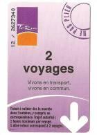 TITRE DE TRANSPORT...BUS...2 Voyages Du Réseau De METZ..TCRM...TICKET Validé..+ Autre Ticket Autre Réseau KDO - Bus