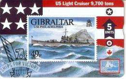 Nº 49 TARJETA DE GIBRALTAR DE UN SELLO CON UN BARCO (SHIP-STAMP)  NUEVO-MINT - Gibraltar