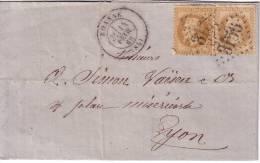 LOIRE - ROANNE 14-2-1869 N°28 X 2 OBLITERATION GC3156 - AVEC TEXTE. - 1849-1876: Classic Period