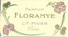 CARTE PARFUMEE ANCIENNE - PARFUM FLORAMYE - L.T. PIVER - PARIS - Anciennes (jusque 1960)