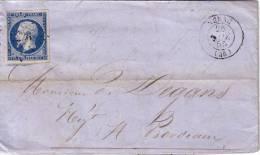LOT ET GARONNE - NERAC LE 26-11-1855 N°14 OBLITERATION PC-LETTRE AVEC TEXTE. - 1849-1876: Classic Period