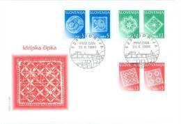 FDC Slovenia 1996 - Idrija Lace (5+5+12+12+13+13 SIT Michel 157 158 159 160 161 162) Mint FDC R1/96 - Slovénie