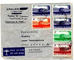 Lettre De Leopoldstad-2 Pour Arosa, Suisse (27.11.1965) _Par Avion_Coquilhatville - République Du Congo (1960-64)
