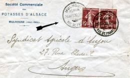 HAUT RHIN De MULHOUSE Rue De France Devant De Lettre Du 26/02/1926 En Tête Potasse D'Alsace - Marcophilie (Lettres)