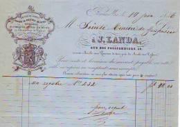 Bruxelles - 1856 - J. Landa - Magasin De Papiers-de Lithographies-gravures Sur Métaux - Printing & Stationeries
