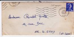 1957 - ENVELOPPE De HYERES (VAR) Avec 2 TIMBRES SUPERPOSES - MULLER - Curiosities: 1950-59 Covers & Documents