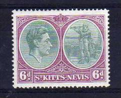 St Kitts Nevis - 1944 - 6d Definitive (Perf 14 Ordinary Paper) - MH - St.Christopher-Nevis-Anguilla (...-1980)