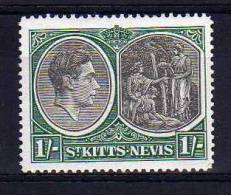 St Kitts Nevis - 1943 - 1 Shilling Definitive (Perf 14 Ordinary Paper) - MH - St.Christopher-Nevis-Anguilla (...-1980)