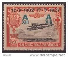 ES370-A943TESO.Spain. Espagne.CRUZ  ROJA 2ª. AEREA .AVION PLUS ULTRA 1927 (Ed 370**) Sin Charnela.MAGNIFICO - Escudos De Armas