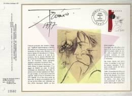 France - Feuillet CEF 419 - Trémois 1977 - 1er J. 17.09.77 Paris Oeuvre Originale De Trémois - T. 1950 - Covers & Documents