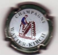 """CAPSULE DE CHAMPAGNE """"WATIER-KIRCH"""" Fond Pastel, Contour Vert Foncé - Bonnet F."""
