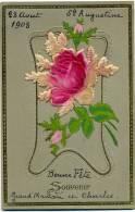 CPA 1908 Précurseur 1908 Gaufrée Plus Collage Tissu Fleurs Roses - Fêtes - Voeux