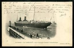 """PAQUEBOTS : Le Steamer """" LA LORRAINE """" De La Cie Générale Transatlantique - CARTE PRÉCURSEUR  DE 1905 - Piroscafi"""