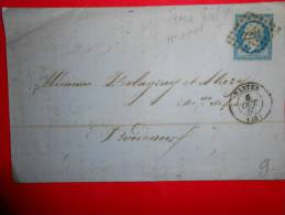 E23;n°14 Sur Lettre Rouen Pour Bordeaux,nuances,variété;verso Ambulants - 1853-1860 Napoléon III.