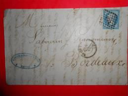 E24;n°14 Sur Lettre Nantes Pour Bordeaux,nuances,variété; Verso Ambulants - 1853-1860 Napoléon III
