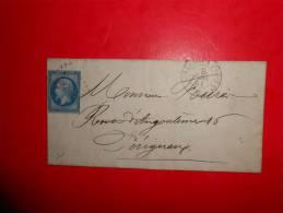 E27.n°14 Sur Lettre De Beaurdeaux A Paris,nuances,variété; Verso Ambulants - 1853-1860 Napoléon III