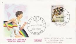 Fdc Roma: COPPA DEL MONDO DI ATLETICA  1981;viaggiata;  AF_Catania - F.D.C.