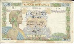 500 Francs La Paix 20-6-1940  162 - 1871-1952 Gedurende De XXste In Omloop