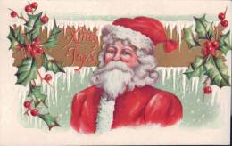 Santa Red Robe Portrait ~ Embossed ~ Xmas Joys (1911) Postcard H192 - Santa Claus