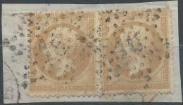 Lot N°21514   Variété, Deux N°21/fragment, Oblit étoile Chiffrée 16 De PARIS ( R. Palestro ), Filet SUD Timbre De Droite - 1862 Napoleon III
