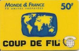 CARTE PREPAYEE-1999-ATLAS TELECOM-50F-ATLAS TELECOM-MONDE & FRANCE-JAUNE--T BE - Autres Prépayées
