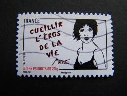 OBLITERE FRANCE ANNEE 2011 N° 549 SERIE FEMME DE L´ETRE DE MISS TIC CUEILLIR L´EROS DE LA VIE AUTOCOLLANT ADHESIF - France