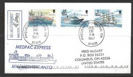 1997 Paquebot Cover, Isle Of Man Ship Stamps Used In Portland Oregon - Lettres & Documents