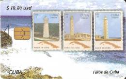 Nº3 TARJETA DE CUBA CON UNOS SELLOS DE FAROS  (STAMP-SELLO-FARO-LIGHTHOUSE) - Sellos & Monedas