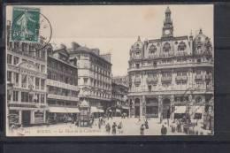 FRANCE 76.CPA.(SEINE MME).ROUEN.PLACE DE LA CATHEDRALE .TRES ANIMÉE..CIRCULÉE 1908 AVEC  TIMBRE - Rouen
