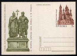 Poland Pologne Postal Stationery Cathedral In Poznan, King Boleslaw Chrobry, Mieszko I. Second Visitof Pope John Paul II - Interi Postali