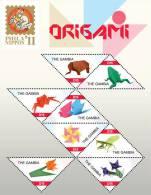 gam1128sh Gambia 2011 Birds Origami s/s Elephant Frog Crab Crane Inscent Flower Rabbit Horse