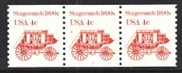 U.S. 2228  X 3   Plate 1  17 3/4 MM   **   STAGECOACH - Coils (Plate Numbers)