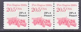 U.S. 2264  X 3   Plate 1  **  FIRE  ENGINE - Coils (Plate Numbers)