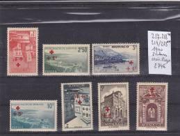 TIMBRE DE MONACO NEUF**  N R 217*-218* 219/23** 1940 CROIX ROUGE 7 VALEURS  COTE 274€ - Monaco