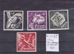 TIMBRE DE MONACO AÉRIENNE  NEUF**  N R 51/54**PA 1950 JEUX OLYMPIQUE D HELSINKI  COTE 95€ - Poste Aérienne