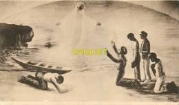 Cpa 33 Gradignan, A Dieu Vat, Marins Sur La Plage Qui Se Prosternent Devant La Vierge, Ducat 1933 - Gradignan