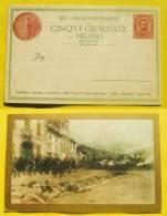 """Cartolina Illustrata A Beneficio Della Società Amici Del Bene Per 50° Anniversario """"5 Giornate Di Milano"""" 18/03/1898 - 1878-00 Umberto I"""