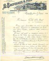Bruxelles - 1909 - E. Backhaus & Fils - Imprimerie-lithographie - Printing & Stationeries