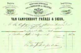 Bruxelles - 1866 - Van Campenhout Frères & Soeur - Papiers & Fournitures De Bureau Gros & - Printing & Stationeries