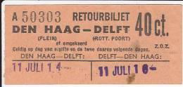 Vintage Tram Ticket 1914? Den Haag-Delft - Abonos