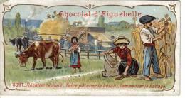 Chromo Chocolat D´Aiguebelle Août Récolter Maïs Faire Pâturer Bétail Battage Batteuse - Aiguebelle
