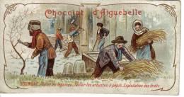 Chromo Chocolat D´Aiguebelle Décembre Pailler Légumes Tailler Arbustes à Pépin Exploitation Forêts Hache Sécateur - Aiguebelle