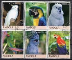Angola 2000 Birds - Parrots Block Of 6 CTO - Angola