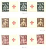 CROATIA WWII Lot RED CROSS 1941stamps/pairs With Tabs + ENGRAVER Signed!  MNH/MH (mint Never Hinged/mint Hinged) - Croatia