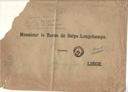 BELGIQUE, Enveloppe Du Sénat Adressée Au Baron De Selys Longchamps 1894, ( En Mauvais état). (3V16) - Documents Historiques