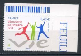 FRANCE   2011   Yvert Adhésif 635   INSULINE    COIN De FEUILLE - France