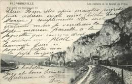 CPA  BELGIQUE PROFONDEVILLE VUE PRISE DU CHEMIN DE FER  LES ROCHERS ET LE TUNNNEL DE FRENE   TRAIN SCANS RECTO VERSO - Profondeville